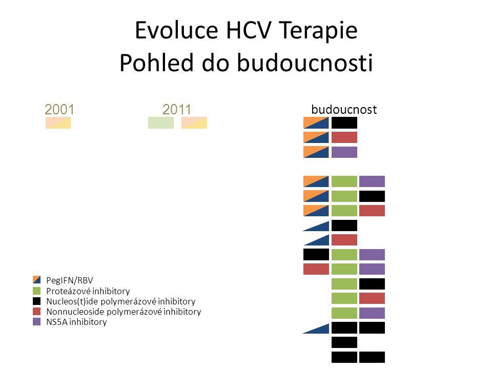 Evoluce HCV Terapie Pohled do budoucnosti 20012011 budoucnost PegIFN/RBV Proteázové inhibitory Nucleos(t)ide polymerázové inhibitory Nonnucleoside polymerázové inhibitory NS5A inhibitory