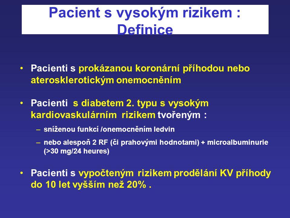 Primární prevence kardiovaskulárních příhod: pacient s nízkým a středním rizikem Prevence kardiovaskulárních příhod pacient s vysokým rizikem Dvě kate