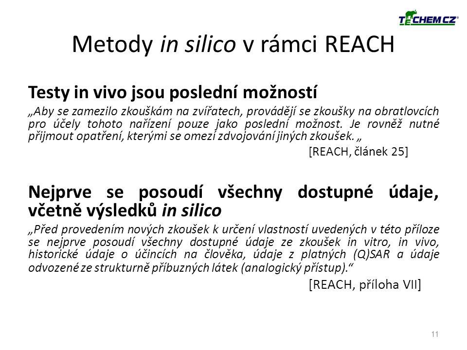 """Metody in silico v rámci REACH Testy in vivo jsou poslední možností """"Aby se zamezilo zkouškám na zvířatech, provádějí se zkoušky na obratlovcích pro ú"""