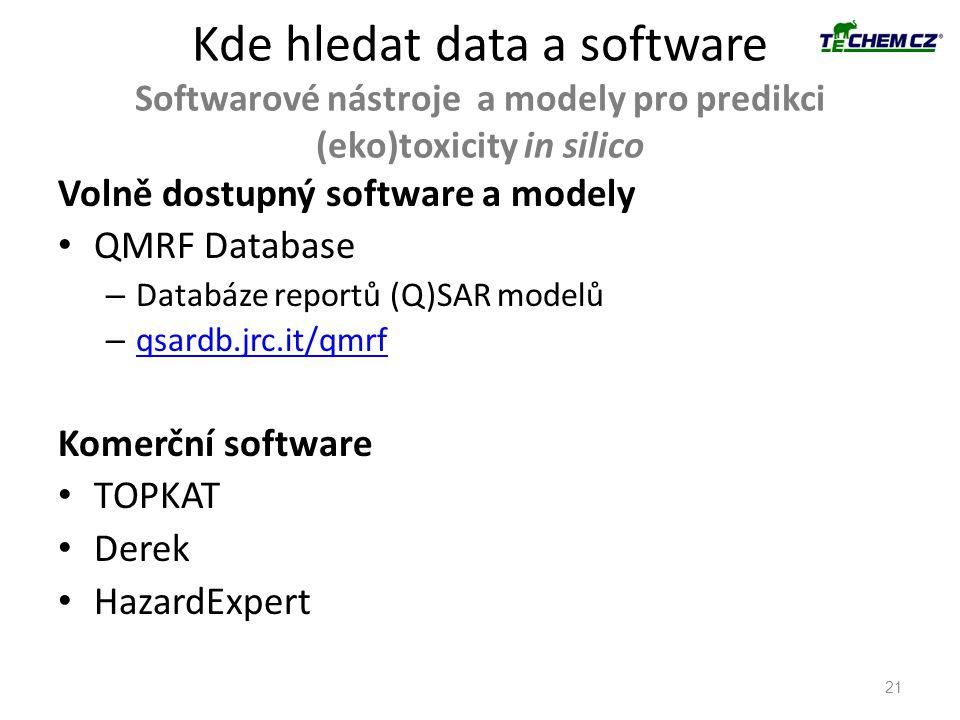 Kde hledat data a software Softwarové nástroje a modely pro predikci (eko)toxicity in silico 21 Volně dostupný software a modely QMRF Database – Datab
