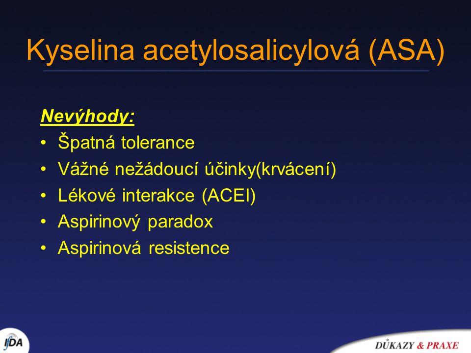 Kyselina acetylosalicylová (ASA) Nevýhody: Špatná tolerance Vážné nežádoucí účinky(krvácení) Lékové interakce (ACEI) Aspirinový paradox Aspirinová res