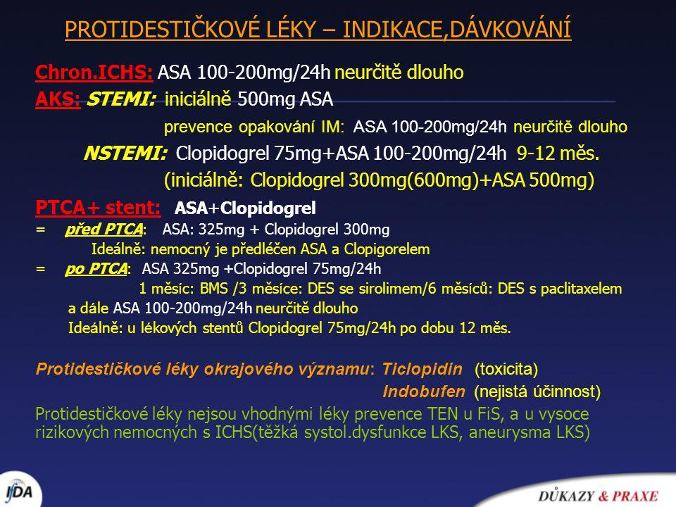 Chron.ICHS: ASA 100-200mg/24h neurčitě dlouho AKS: STEMI: iniciálně 500mg ASA prevence opakování IM: ASA 100-200mg/24h neurčitě dlouho NSTEMI: Clopido