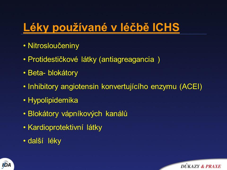 Léky bez vlivu na prognozu nemocných s ICHS (neovlivňují morbiditu a mortalitu) Nitrosloučeniny Blokátory vápníkových kanálů Metabolicky působící léky Léky zlepšující prognozu nemocných s ICHS (snížení morbidity a mortality) BB Statiny ACEI Protidestičkové léky ( pouze u AKS )