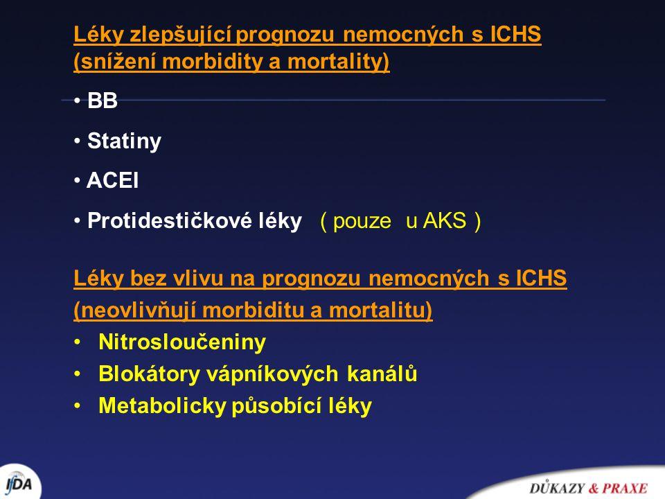 BETA - BLOKÁTORY AIM (MIAMI, ISIS-1,CAPRIKORN….) sekundární prevence ICHS (Multicenter International Practolol Trial,Norwegian Multicentre Study on Timolol, BHAT,…) Závěry ze studií s BB v sek.prevenci ICHS: snížení mortality o 30%, snížení výskytu NS o 40%, snížení recidivy IM o 25%..