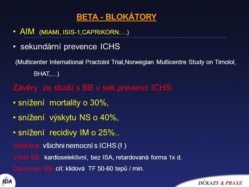 BETA - BLOKÁTORY AIM (MIAMI, ISIS-1,CAPRIKORN….) sekundární prevence ICHS (Multicenter International Practolol Trial,Norwegian Multicentre Study on Ti
