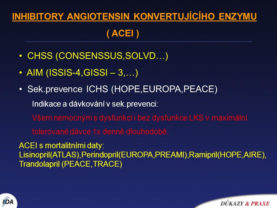 """Statiny AIM (MIRACLE,PROVE-IT TIMI 22,…) sekundární prevence ICHS (CARE,LIPID,4S,HPS,…) Závěry ze studií v sek.prevenci ICHS: snížení koronární mortality o 38% snížení celk.mortality o 24% snížení výskytu nefatálního IM o 33% nemocní s nejvyšším rizikem profitují z léčby nejvíce (!) ad cholesterolémie: """"čím níže tím lépe (!) Léčebný cíl v sek.prevenci: TC 1,0mmol/L,TG <1,7mmol/l """" základní dávky statinů : 10 mg atorvastatinu, 10 mg simvastatinu, 20 mg lovastatinu, 40mg fluvastatinu Násobení dávky statinů nevede k násobení účinku na LDL-C (""""pravidlo 7% )."""