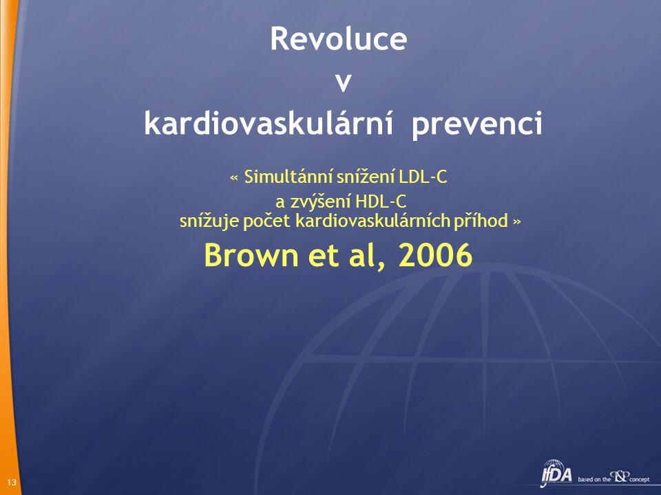 13 Revoluce v kardiovaskulární prevenci « Simultánní snížení LDL-C a zvýšení HDL-C snížuje počet kardiovaskulárních příhod » Brown et al, 2006