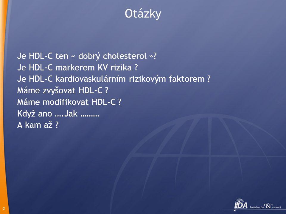 2 Otázky Je HDL-C ten « dobrý cholesterol »? Je HDL-C markerem KV rizika ? Je HDL-C kardiovaskulárním rizikovým faktorem ? Máme zvyšovat HDL-C ? Máme