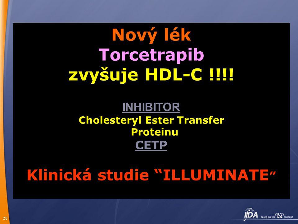 """20 Nový lék Torcetrapib zvyšuje HDL-C !!!! INHIBITOR Cholesteryl Ester Transfer Proteinu CETP Klinická studie """"ILLUMINATE """""""