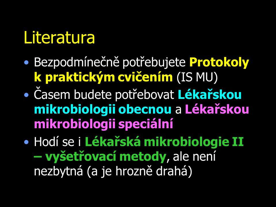 Literatura Bezpodmínečně potřebujete Protokoly k.praktickým cvičením (IS MU) Časem budete potřebovat Lékařskou mikrobiologii obecnou a Lékařskou mikro