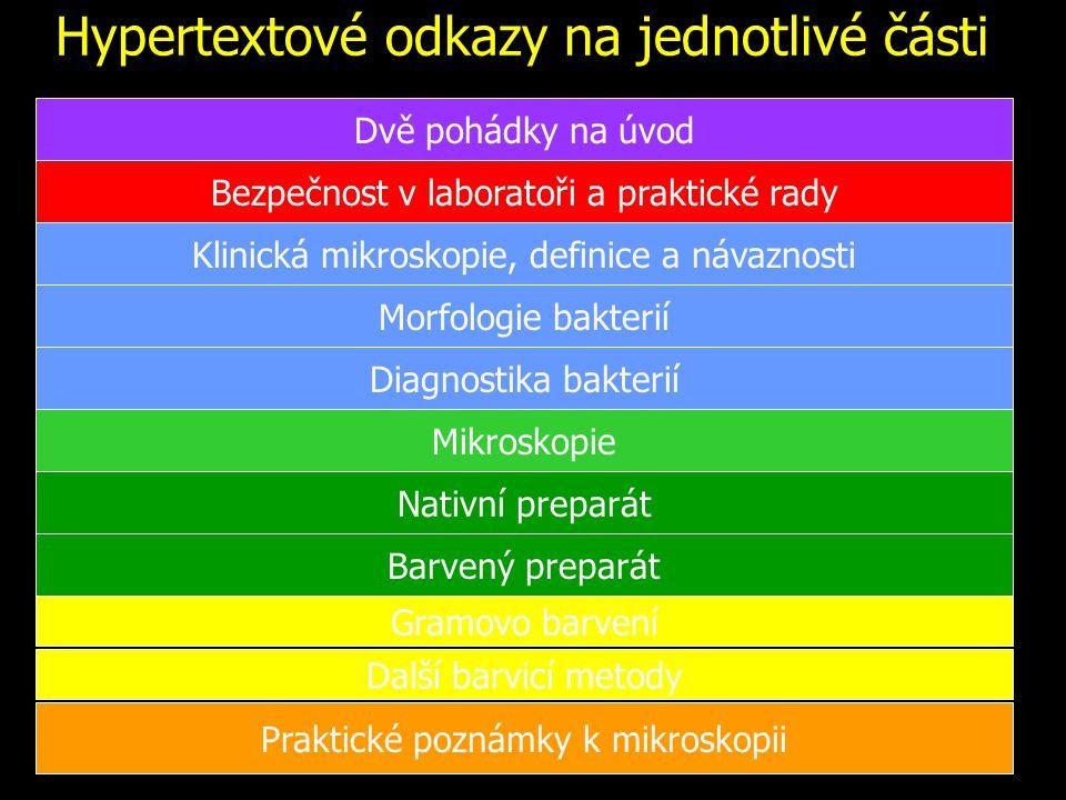 """Morfologie bakterií Koky ve dvojicích (diplokoky), v řetízcích a ve shlucích (neříkejme raději """"streptokoky a """"stafylokoky , bylo by to matoucí) Tyčinky rovné či zahnuté (vibria), případně několikrát zahnuté (spirily), krátké nebo dlouhé, tvořící až vlákna či rozvětvená vlákna; konce mohou být oblé či špičaté a i tyčinky můžou být různě uspořádané Kokobacily (někdo říká i kokotyčinky) Spirochety – tenké spirálovité bakterie Beztvaré bakterie, například mykoplasmata (nemají buněčnou stěnu, jejich tvar je proto proměnlivý)"""