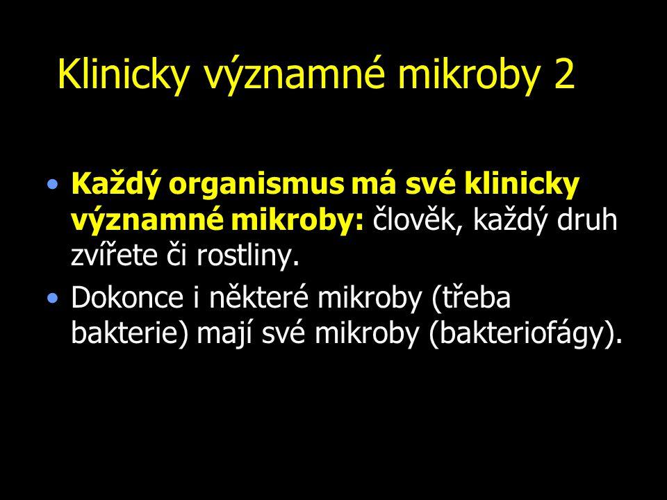 Klinicky významné mikroby 2 Každý organismus má své klinicky významné mikroby: člověk, každý druh zvířete či rostliny. Dokonce i některé mikroby (třeb