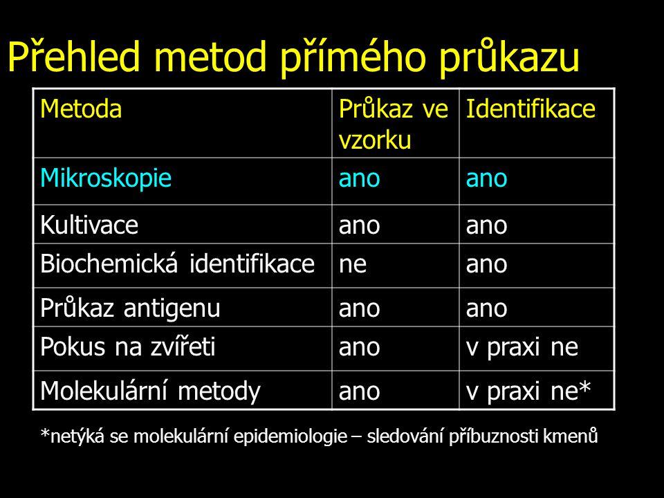Přehled metod přímého průkazu MetodaPrůkaz ve vzorku Identifikace Mikroskopieano Kultivaceano Biochemická identifikaceneano Průkaz antigenuano Pokus n