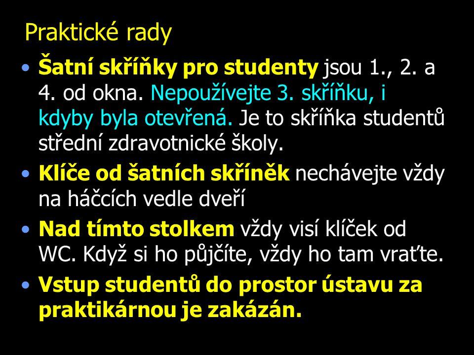 Praktické rady Šatní skříňky pro studenty jsou 1., 2. a 4. od okna. Nepoužívejte 3. skříňku, i kdyby byla otevřená. Je to skříňka studentů střední zdr