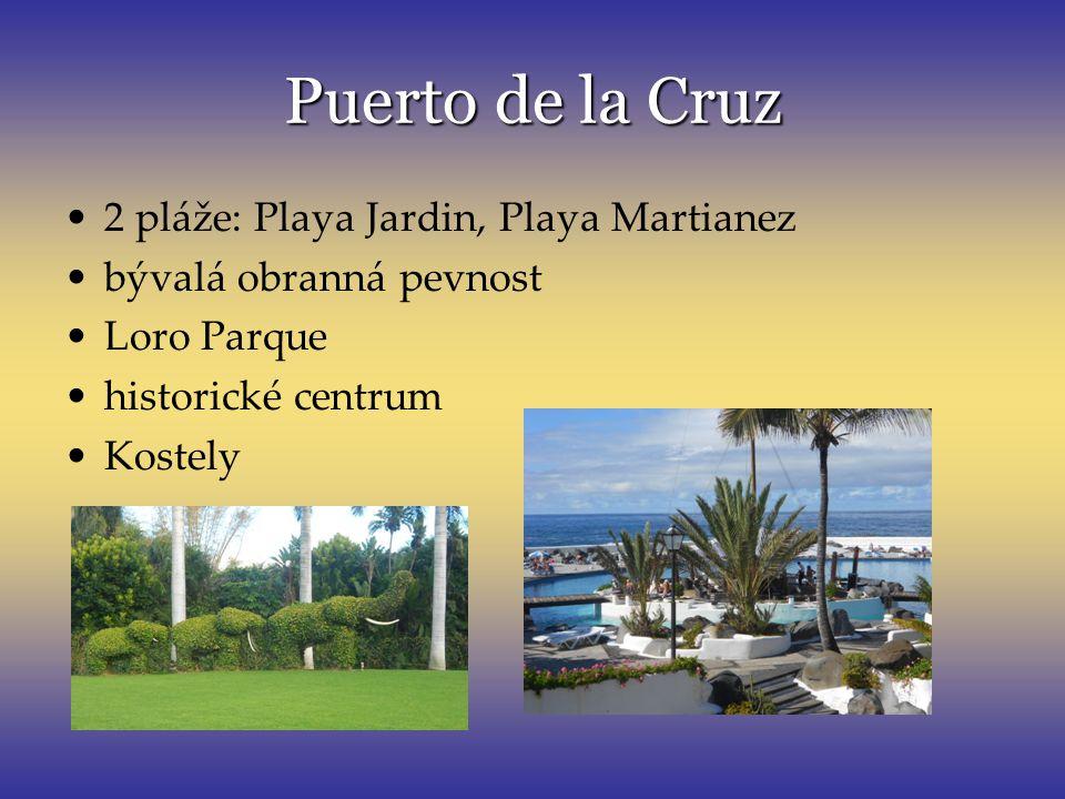 Puertode la Cruz Puerto de la Cruz 2 pláže: Playa Jardin, Playa Martianez bývalá obranná pevnost Loro Parque historické centrum Kostely