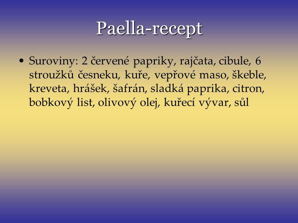 Paella-recept Suroviny: 2 červené papriky, rajčata, cibule, 6 stroužků česneku, kuře, vepřové maso, škeble, kreveta, hrášek, šafrán, sladká paprika, c