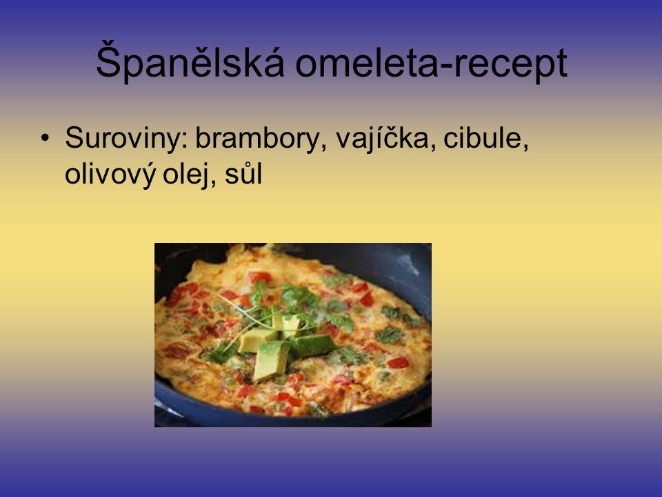 Španělská omeleta-recept Suroviny: brambory, vajíčka, cibule, olivový olej, sůl