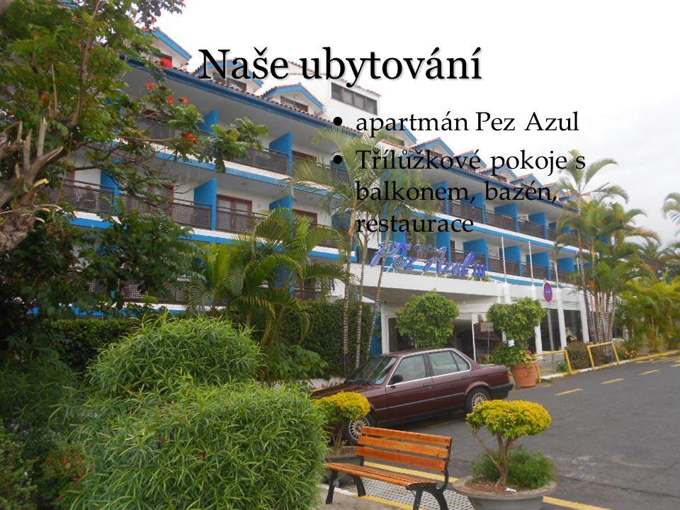 Naše ubytování apartmán Pez Azul Třílůžkové pokoje s balkonem, bazén, restaurace