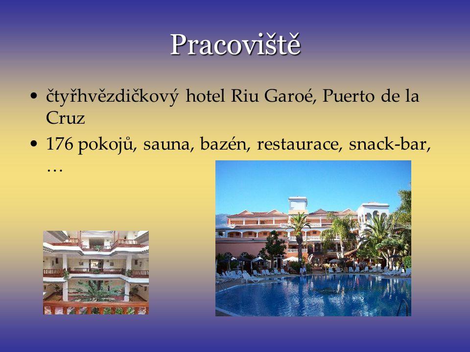 Pracoviště čtyřhvězdičkový hotel Riu Garoé, Puerto de la Cruz 176 pokojů, sauna, bazén, restaurace, snack-bar, …