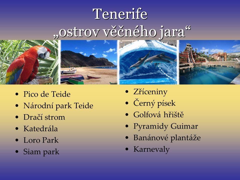 "Tenerife ""ostrov věčného jara"" Pico de Teide Národní park Teide Dračí strom Katedrála Loro Park Siam park Zříceniny Černý písek Golfová hřiště Pyramid"