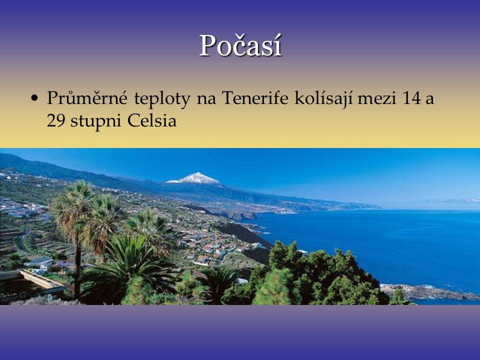 Počasí Průměrné teploty na Tenerife kolísají mezi 14 a 29 stupni Celsia