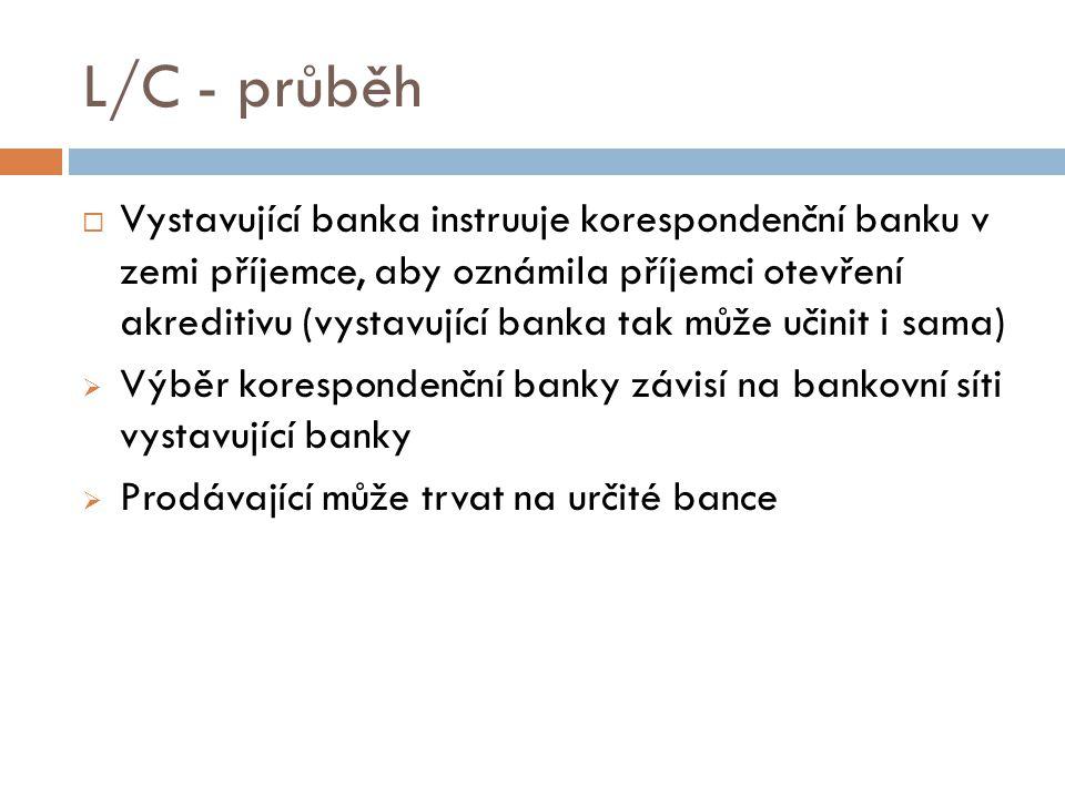 L/C - průběh  Vystavující banka instruuje korespondenční banku v zemi příjemce, aby oznámila příjemci otevření akreditivu (vystavující banka tak může