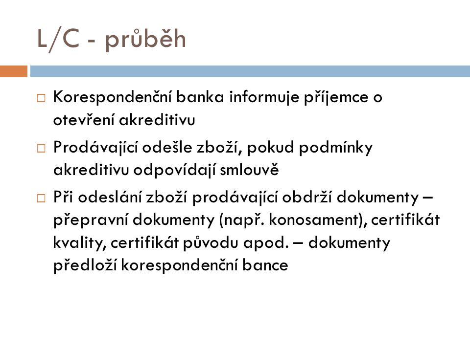 L/C - průběh  Korespondenční banka informuje příjemce o otevření akreditivu  Prodávající odešle zboží, pokud podmínky akreditivu odpovídají smlouvě