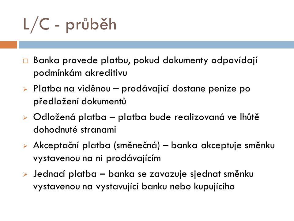 L/C - průběh  Banka provede platbu, pokud dokumenty odpovídají podmínkám akreditivu  Platba na viděnou – prodávající dostane peníze po předložení do