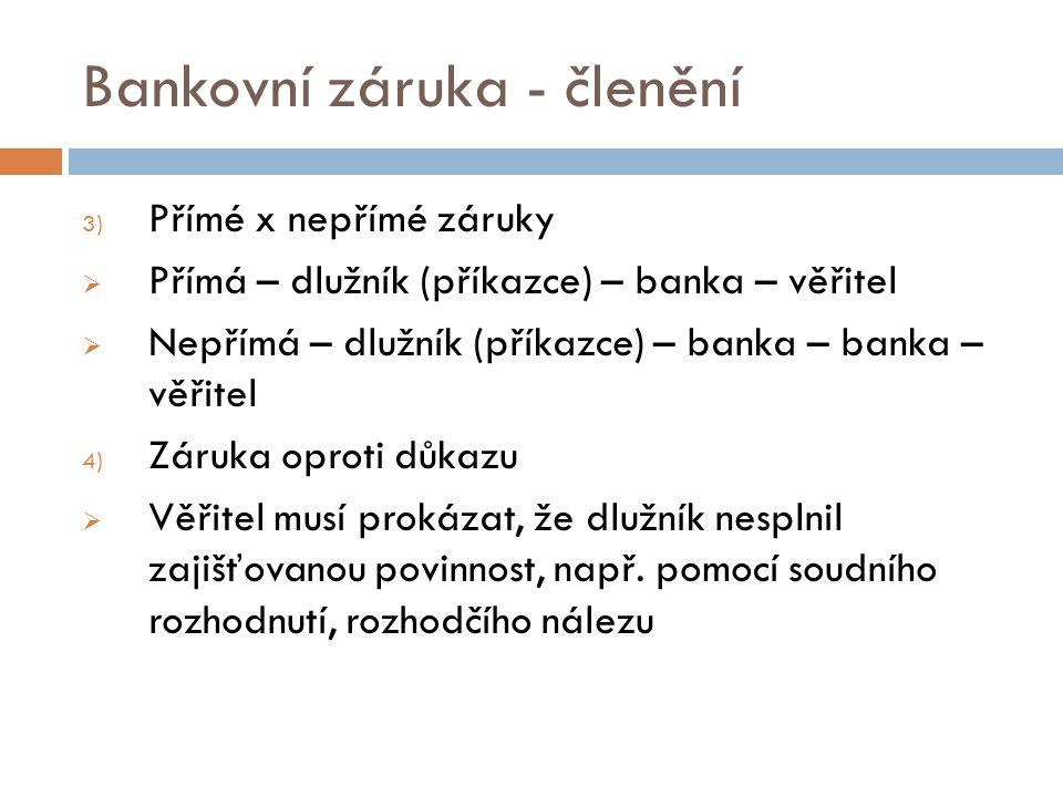 Bankovní záruka - členění 3) Přímé x nepřímé záruky  Přímá – dlužník (příkazce) – banka – věřitel  Nepřímá – dlužník (příkazce) – banka – banka – vě