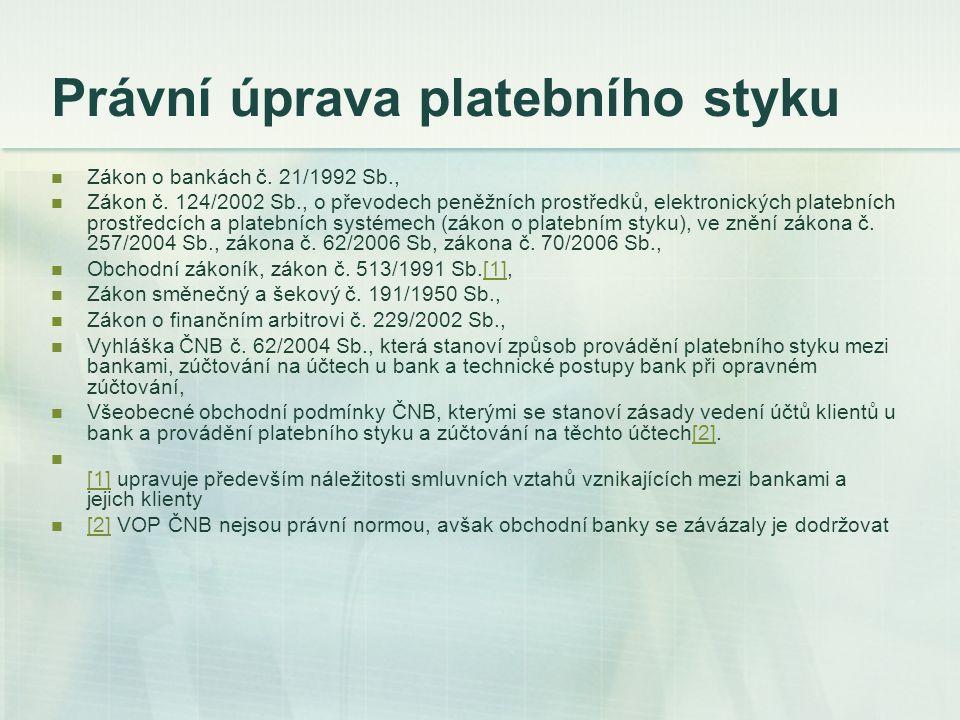 Právní úprava platebního styku Zákon o bankách č. 21/1992 Sb., Zákon č. 124/2002 Sb., o převodech peněžních prostředků, elektronických platebních pros