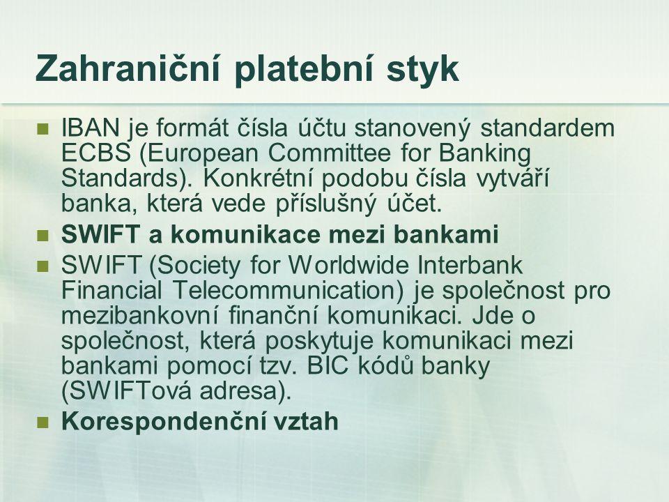 Zahraniční platební styk IBAN je formát čísla účtu stanovený standardem ECBS (European Committee for Banking Standards). Konkrétní podobu čísla vytvář