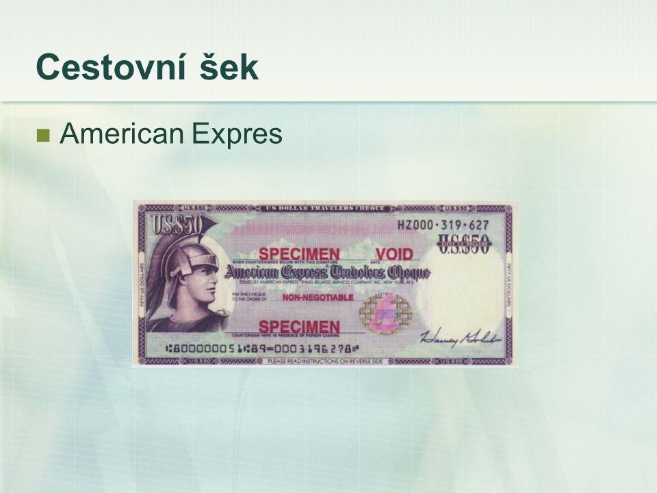 Cestovní šek American Expres