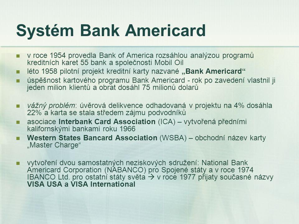 Systém Bank Americard v roce 1954 provedla Bank of America rozsáhlou analýzou programů kreditních karet 55 bank a společnosti Mobil Oil léto 1958 pilo