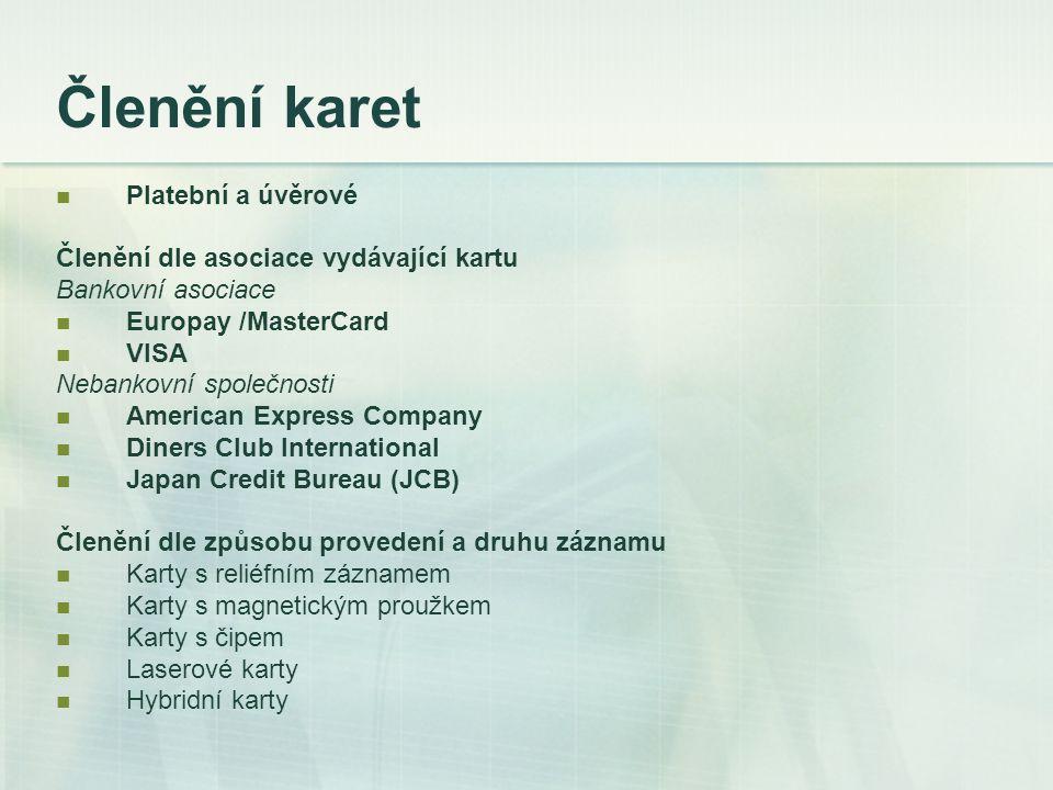 Členění karet Platební a úvěrové Členění dle asociace vydávající kartu Bankovní asociace Europay /MasterCard VISA Nebankovní společnosti American Expr