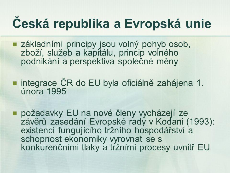 Česká republika a Evropská unie základními principy jsou volný pohyb osob, zboží, služeb a kapitálu, princip volného podnikání a perspektiva společné