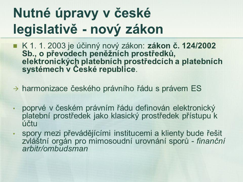 Nutné úpravy v české legislativě - nový zákon K 1. 1. 2003 je účinný nový zákon: zákon č. 124/2002 Sb., o převodech peněžních prostředků, elektronický