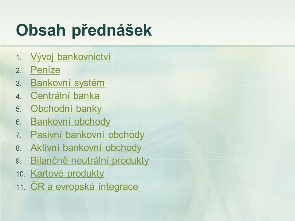 Obsah přednášek 1. Vývoj bankovnictví Vývoj bankovnictví 2. Peníze Peníze 3. Bankovní systém Bankovní systém 4. Centrální banka Centrální banka 5. Obc