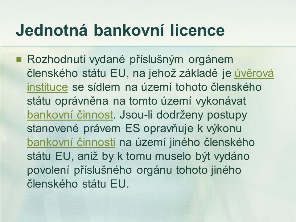 Jednotná bankovní licence Rozhodnutí vydané příslušným orgánem členského státu EU, na jehož základě je úvěrová instituce se sídlem na území tohoto čle
