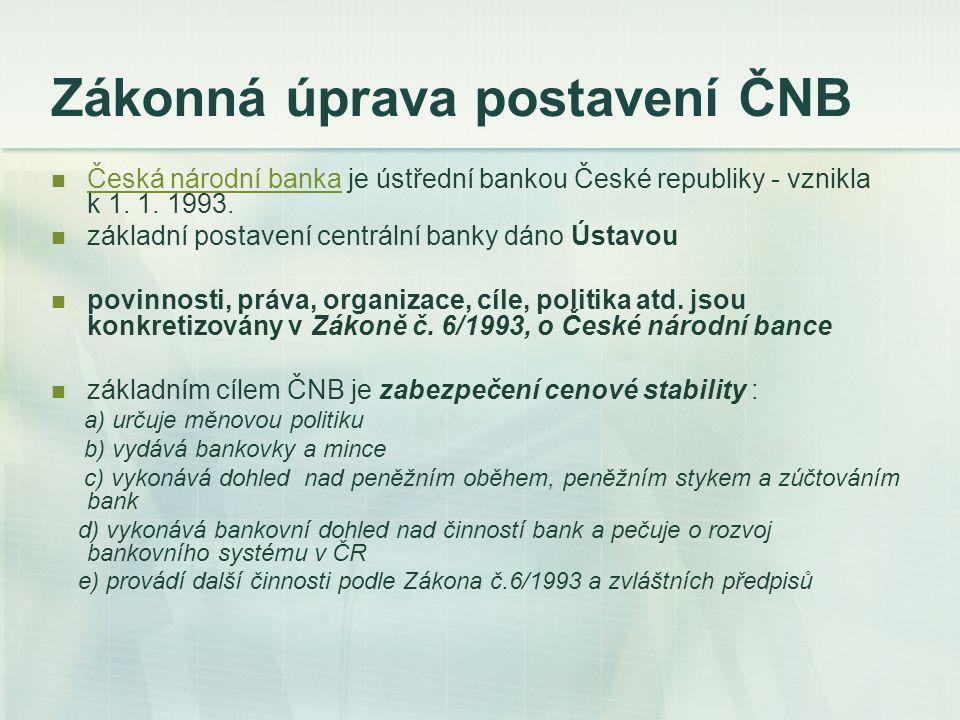 Zákonná úprava postavení ČNB Česká národní banka je ústřední bankou České republiky - vznikla k 1. 1. 1993. Česká národní banka základní postavení cen