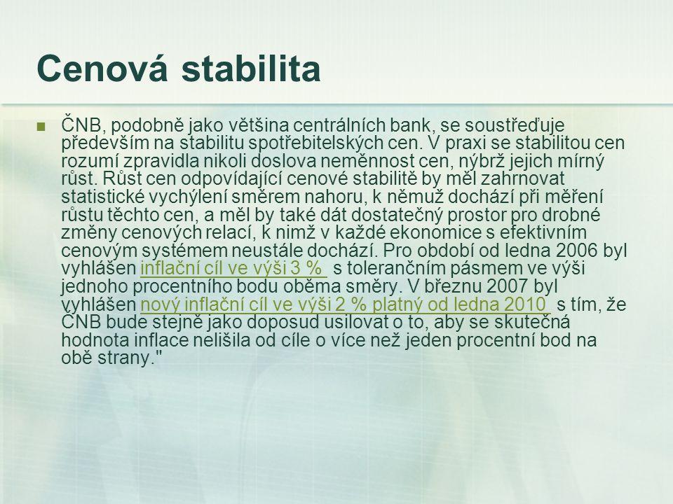 Cenová stabilita ČNB, podobně jako většina centrálních bank, se soustřeďuje především na stabilitu spotřebitelských cen. V praxi se stabilitou cen roz