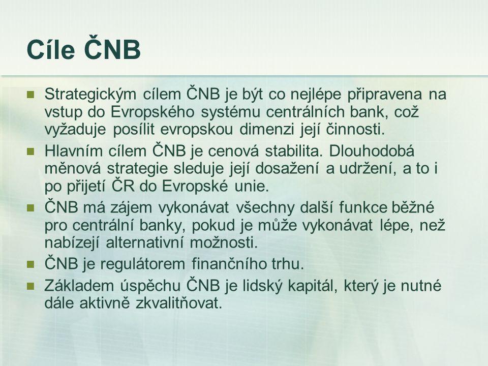 Cíle ČNB Strategickým cílem ČNB je být co nejlépe připravena na vstup do Evropského systému centrálních bank, což vyžaduje posílit evropskou dimenzi j