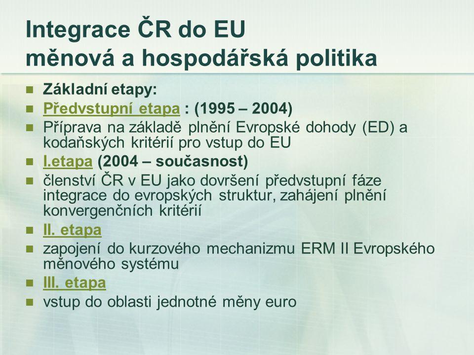 Integrace ČR do EU měnová a hospodářská politika Základní etapy: Předvstupní etapa : (1995 – 2004) Předvstupní etapa Příprava na základě plnění Evrops