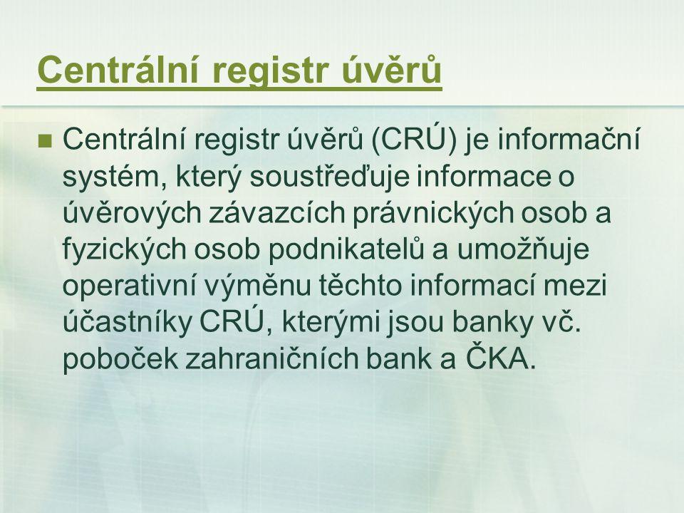 Centrální registr úvěrů Centrální registr úvěrů (CRÚ) je informační systém, který soustřeďuje informace o úvěrových závazcích právnických osob a fyzic