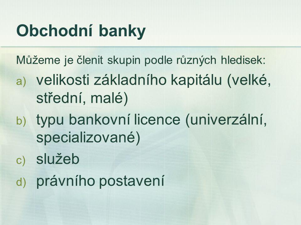Můžeme je členit skupin podle různých hledisek: a) velikosti základního kapitálu (velké, střední, malé) b) typu bankovní licence (univerzální, special