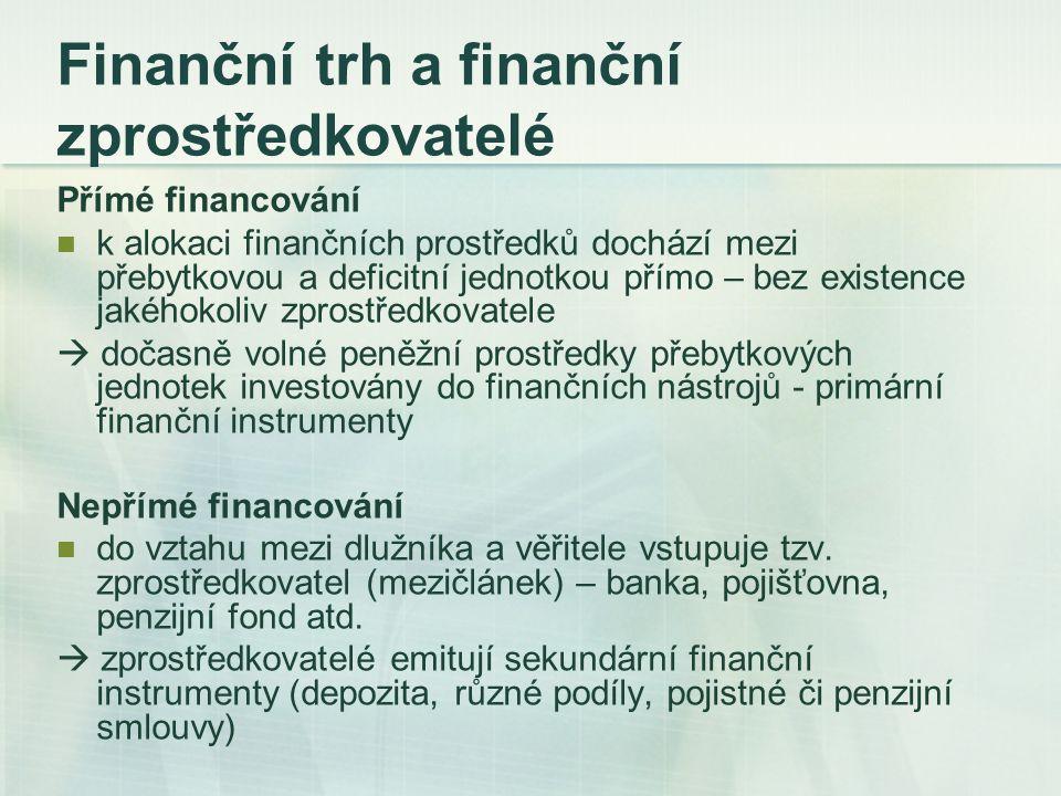 Finanční trh a finanční zprostředkovatelé Přímé financování k alokaci finančních prostředků dochází mezi přebytkovou a deficitní jednotkou přímo – bez