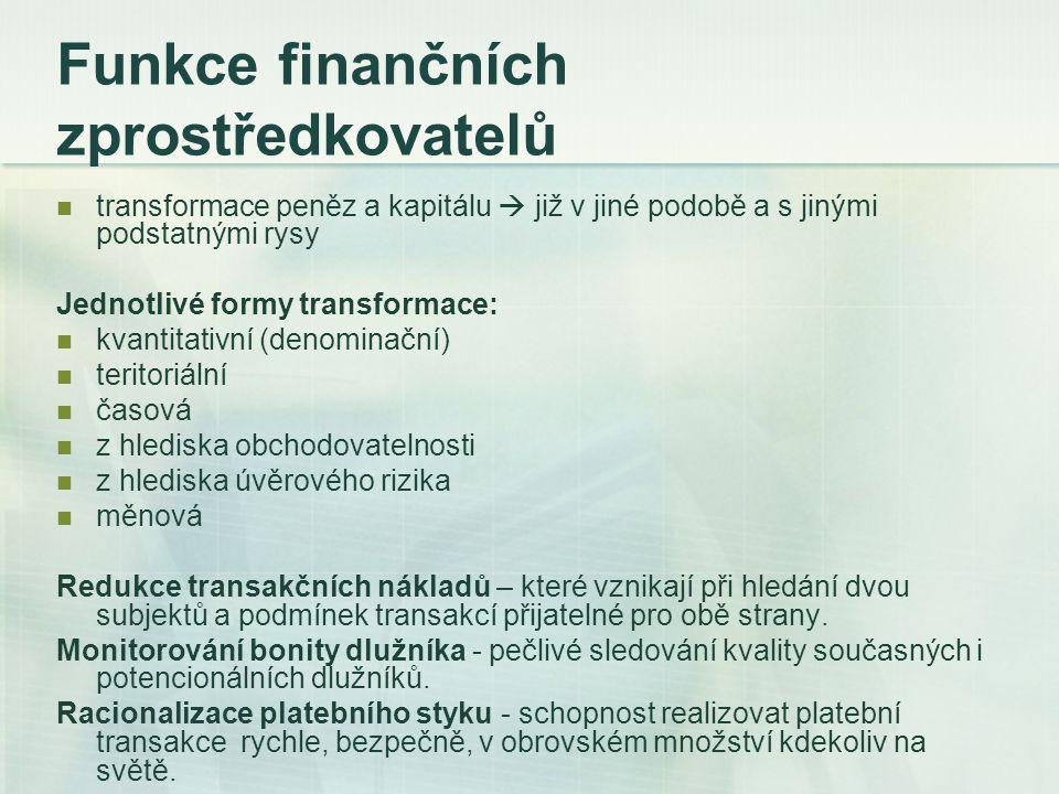 Funkce finančních zprostředkovatelů transformace peněz a kapitálu  již v jiné podobě a s jinými podstatnými rysy Jednotlivé formy transformace: kvant