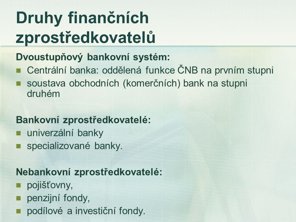 Druhy finančních zprostředkovatelů Dvoustupňový bankovní systém: Centrální banka: oddělená funkce ČNB na prvním stupni soustava obchodních (komerčních