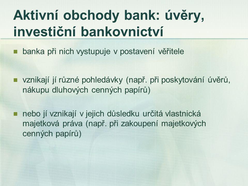 Aktivní obchody bank: úvěry, investiční bankovnictví banka při nich vystupuje v postavení věřitele vznikají jí různé pohledávky (např. při poskytování