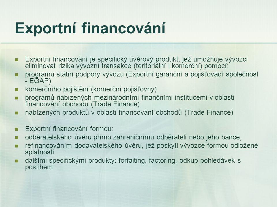 Exportní financování Exportní financování je specifický úvěrový produkt, jež umožňuje vývozci eliminovat rizika vývozní transakce (teritoriální i kome