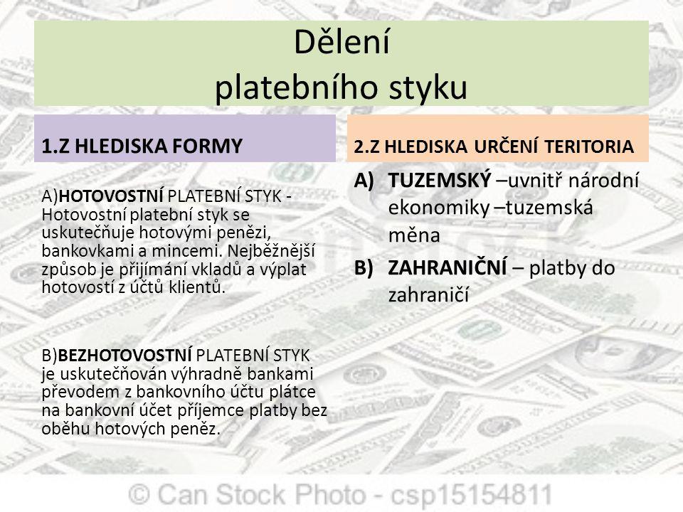 ZÚČTOVÁNÍ PLATEBNÍHO STYKU - TUZEMSKÝ PROSTŘEDNICTVÍM TZV.